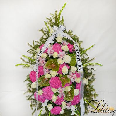 Funeral wreath with rose, orchid, anthurium and hydrangea